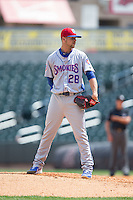 Tennessee Smokies relief pitcher Stephen Perakslis (28) looks to his catcher for the sign against the Birmingham Barons at Regions Field on May 4, 2015 in Birmingham, Alabama.  The Barons defeated the Smokies 4-3 in 13 innings. (Brian Westerholt/Four Seam Images)