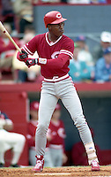 Cincinnati Reds Eric Davis during spring training circa 1991 at Chain of Lakes Park in Winter Haven, Florida.  (MJA/Four Seam Images)