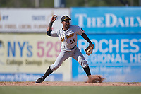West Virginia Black Bears second baseman Raul Siri (55) throws to first base for the out during a game against the Batavia Muckdogs on June 25, 2017 at Dwyer Stadium in Batavia, New York.  Batavia defeated West Virginia 4-1 in nine innings of a scheduled seven inning game.  (Mike Janes/Four Seam Images)