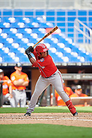 Washington Nationals Onix Vega (19) at bat during a Florida Instructional League game against the Miami Marlins on September 26, 2018 at the Marlins Park in Miami, Florida.  (Mike Janes/Four Seam Images)