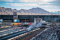 Nov 1, 2020; Las Vegas, Nevada, USA; Overall view as NHRA top fuel driver Steve Torrence does a burnout during the NHRA Finals at The Strip at Las Vegas Motor Speedway. Mandatory Credit: Mark J. Rebilas-USA TODAY Sports