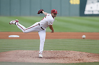 Arkansas Kevin Kopps (45) pitches, Monday, June 7, 2021 in the NCAA Fayetteville Regional at Baum-Walker Stadium in Fayetteville. Check out nwaonline.com/210608Daily/ for today's photo gallery. <br /> (NWA Democrat-Gazette/Charlie Kaijo)