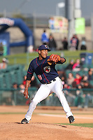 Edison Frias (16) of the Lancaster JetHawks pitches during a game against the Modesto Nuts at The Hanger on April 25, 2015 in Lancaster, California. Lancaster defeated Modesto, 5-4. (Larry Goren/Four Seam Images)