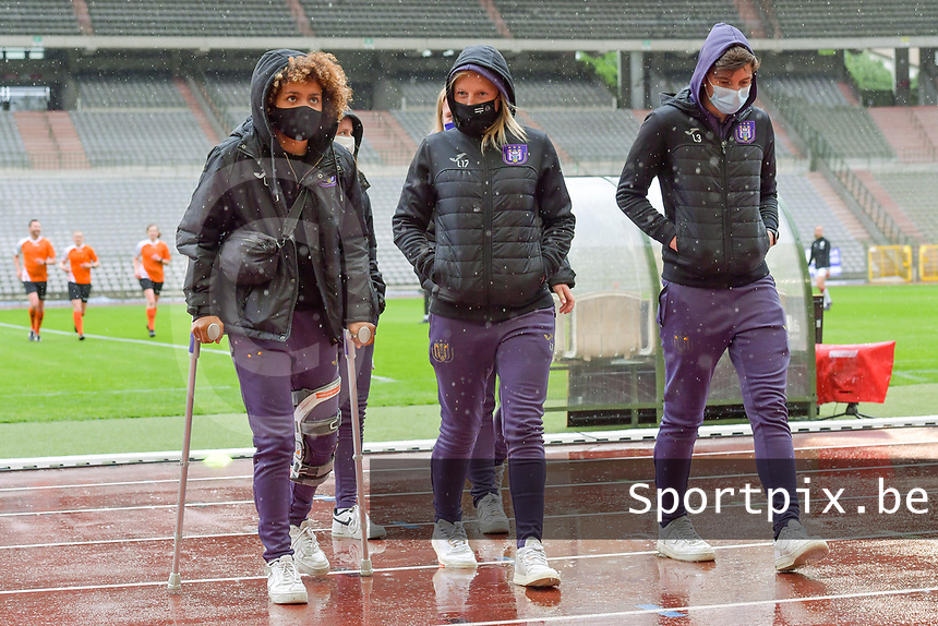 Kassandra Missipo (12) of Anderlecht pictured before a female soccer game between RSC Anderlecht Dames and Oud Heverlee Leuven on the seventh matchday of play off 1 of the 2020 - 2021 season of Belgian Womens Super League , saturday 15 th of May 2021  in Brussels , Belgium . PHOTO SPORTPIX.BE | SPP | STIJN AUDOOREN