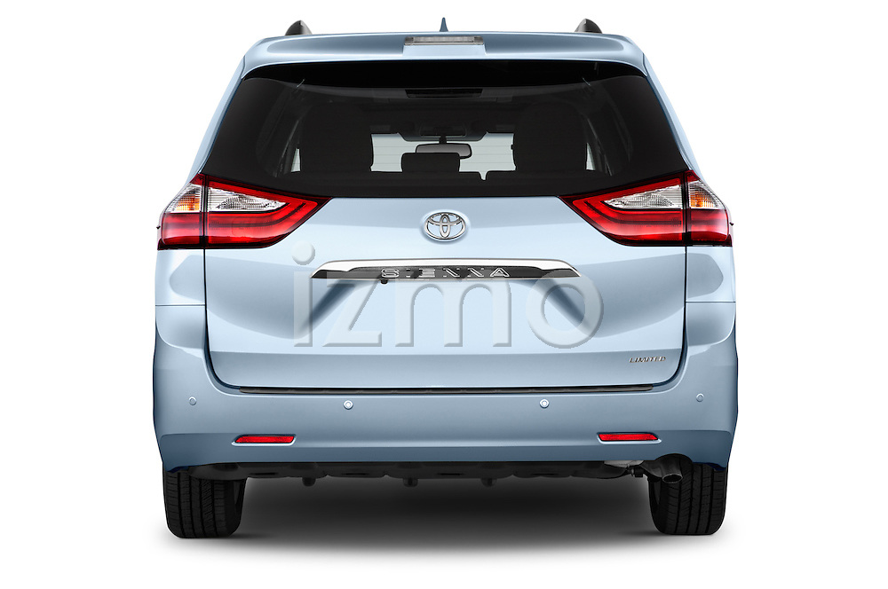 Straight rear view of2015 Toyota Sienna Limited V6 8-Passenger 5 Door Mini Van Rear View  stock images