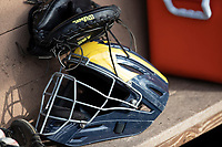 Michigan Wolverines catchers helmet on March 27, 2019 in Game 2 of the NCAA baseball doubleheader at Ray Fisher Stadium in Ann Arbor, Michigan. Michigan defeated San Jose State 3-0. (Andrew Woolley/Four Seam Images)