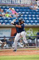 Mobile BayBears Roberto Baldoquin (27) at bat during a Southern League game against the Mobile BayBears on July 25, 2019 at Blue Wahoos Stadium in Pensacola, Florida.  Pensacola defeated Mobile 2-1 in the first game of a doubleheader.  (Mike Janes/Four Seam Images)