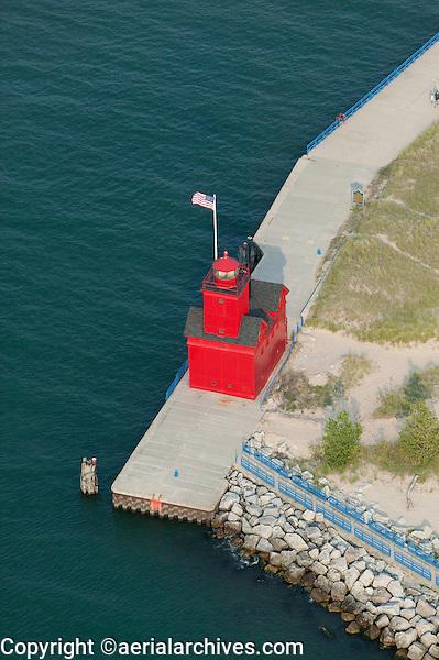 aerial photograph Holland Harbor Light, Big Red Lighthouse, Holland, Michigan