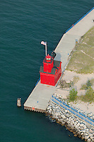 aerial photograph Holland Harbor Light, Big Red Lighthouse, Holland, Michigan