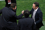 Atletico de Madrid's coach Diego Pablo Cholo Simeone (l) and Real Sociedad's coach Eusebio Sacristan during La Liga match. April 4,2017. (ALTERPHOTOS/Acero)
