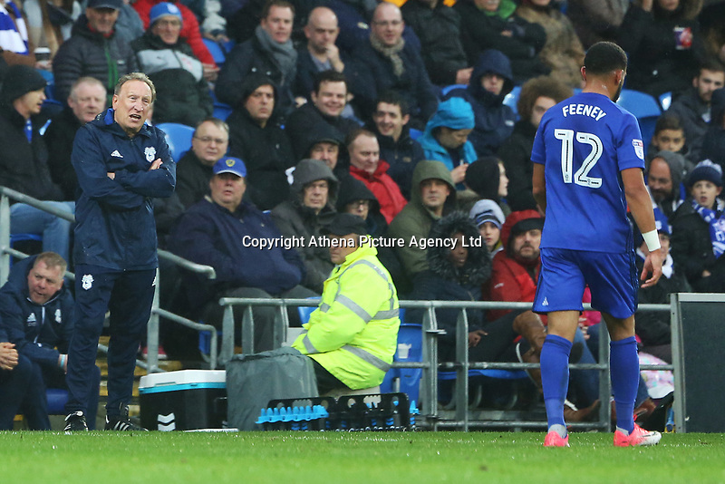Cardiff City manager Neil Warnock talks to Liam Feeney of Cardiff City during the Sky Bet Championship match between Cardiff City and Brentford at the Cardiff City Stadium, Wales, UK. Saturday 18 November 2017