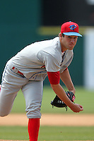 Clearwater Threshers pitcher Brody Colvin #16 during a game against the Brevard County Manatees at Space Coast Stadium on April 30, 2012 in Viera, Florida.  Clearwater defeated Brevard County 5-1.  (Mike Janes/Four Seam Images)