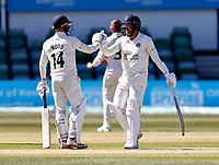 Danny Lamb (R) is congratulated on his fifty for Lancashire by Luke Wood (L) during Kent CCC vs Lancashire CCC, LV Insurance County Championship Group 3 Cricket at The Spitfire Ground on 23rd April 2021