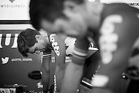 Jens Debusschere (BEL/Lotto-Soudal) & Greg Henderson (NZL/Lotto-Soudal) warming up ahead of their ITT's<br /> <br /> stage 13 (ITT): Bourg-Saint-Andeol - Le Caverne de Pont (37.5km)<br /> 103rd Tour de France 2016