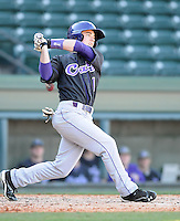 Second baseman Bradley Strong (1) of the Western Carolina Catamounts in a game against the Cincinnati Bearcats on Sunday, February 24, 2013, at Fluor Field in Greenville, South Carolina. Cincinnati won in 10 innings, 7-6. (Tom Priddy/Four Seam Images)