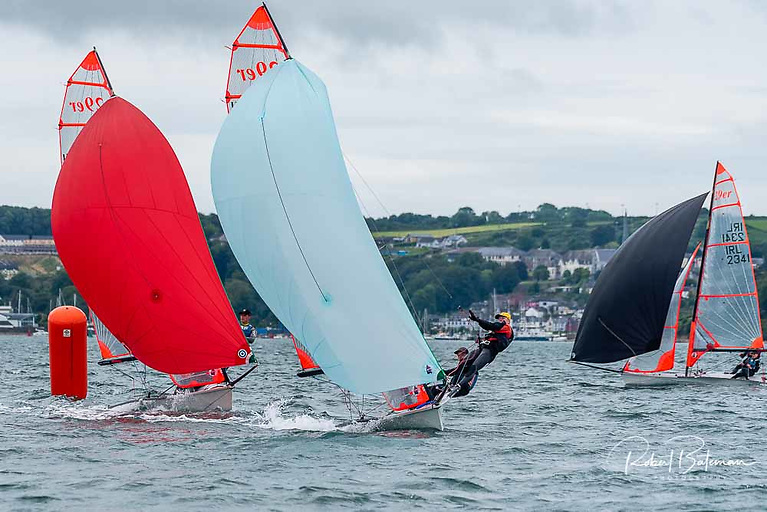 James Dwyer Matthews leads the fleet at a 29er event in Cork Harbour earlier this year. Having scored high in international events, Dwyer Matthews and Ben O'Shaughnessy return to the harbour for more competition this week