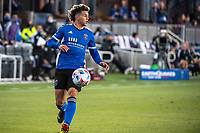 SAN JOSE, CA - MAY 22: Cade Cowell #44 of the San Jose Earthquakes controls the ball during a game between San Jose Earthquakes and Sporting Kansas City at PayPal Park on May 22, 2021 in San Jose, California.