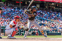 25 July 2013: Pittsburgh Pirates outfielder Andrew McCutchen in action against the Washington Nationals at Nationals Park in Washington, DC. The Nationals salvaged the last game of their series, winning 9-7 ending their 6-game losing streak. Mandatory Credit: Ed Wolfstein Photo *** RAW (NEF) Image File Available ***