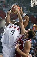 Andre IGUODALA (USA) shoots over Sergey MONYA (Russia)  during the quarter-final World championship basketball match against Russia in Istanbul, USA-Russia, Turkey on Thursday, Sep. 09, 2010..