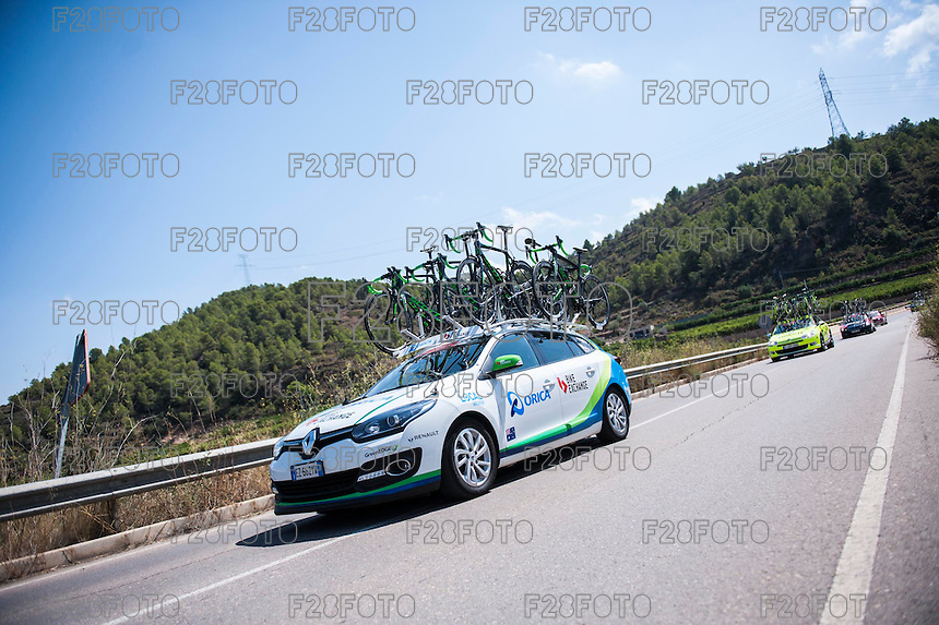 Castellon, SPAIN - SEPTEMBER 7: Orica car during LA Vuelta 2016 on September 7, 2016 in Castellon, Spain