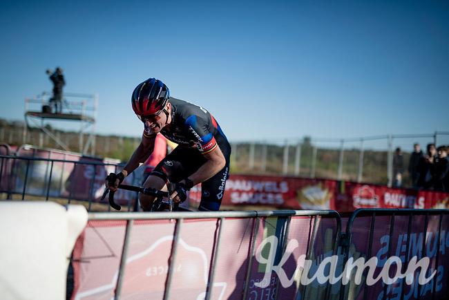 Toon Aerts (BEL/Baloise Trek Lions) on his way to victory<br /> <br /> Elite Men's Race<br /> 2021 UCI cyclo-cross World Cup - Zonhoven (BEL)<br /> <br /> ©kramon