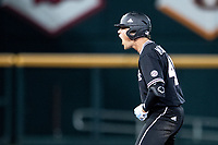 Mississippi State Bulldogs outfielder Elijah MacNamee (40) celebrates at second base during Game 4 of the NCAA College World Series against the Auburn Tigers on June 16, 2019 at TD Ameritrade Park in Omaha, Nebraska. Mississippi State defeated Auburn 5-4. (Andrew Woolley/Four Seam Images)