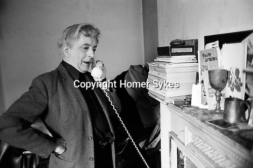 Quentin Crisp in his Earls Court London flat, some times referred to as in Chelsea,  just before he left to live in New York in 1981.