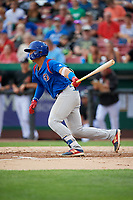South Bend Cubs catcher Miguel Amaya (9) follows through on a swing during a game against the Kane County Cougars on July 21, 2018 at Northwestern Medicine Field in Geneva, Illinois.  South Bend defeated Kane County 4-2.  (Mike Janes/Four Seam Images)