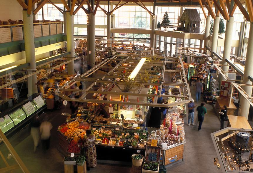 market, Portland, ME, Maine, Interior of Portland Public Market in downtown Portland.