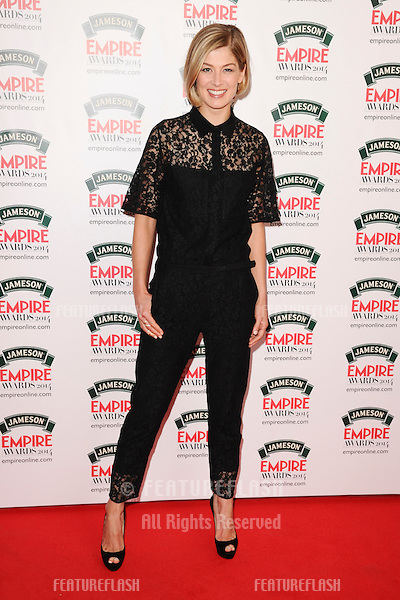 Rosamund Pike<br /> arives for the Empire Magazine Film Awards 2014 at the Grosvenor House Hotel, London. 30/03/2014 Picture by: Steve Vas / Featureflash