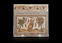 Picture of a Roman mosaics design depicting an owl, symbol of victory over envy. On either side of the Owl are symbols of Telegenii an North African Roman association. From the ancient Roman city of Thysdrus. 3rd century AD. El Djem Archaeological Museum, El Djem, Tunisia. Against a black background