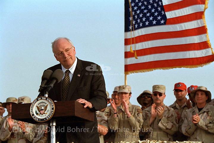 rc: 4pm: Arrival, tour, and visit to troops at Al Uldeid Air Base and Camp Andy.  Doha, Qatar.  Used for Photos of Note March 17 - 18, 2002. RELEASED TO: CSPAN  RELEASED TO: Bush/Cheney 04 campaign  Released to Hispanic Outlook In Higher Education Magazine 0803 Released To:  Dave Workman, Gun Week 3-24-04  RELEASED TO: RSD Advertising 073004 for campaign use, approved through I. Hernandez office  Used in OVP 2002 Christmas Slide Show RELEASED TO: US Mission to NATO 09.20.05. WEB  WEST WING JUMBO  WEB.