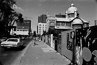Debut de la Construction de l'UQAM sur les rues Sainte-Catherine, Saint-Denis et Berri, en<br />  juillet 1973 (date exacte inconnue).<br /> <br /> PHOTO : Alain Renaud<br />  - Agence Quebec Presse<br /> <br /> NOTE : recadrage, ajustements finaux et retouche si requise sur les images commandées uniquement