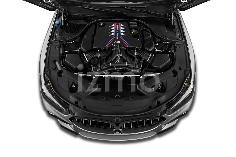 Car Stock 2020 BMW M8 M8-Competition 2 Door Coupe Engine  high angle detail view