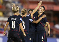 Goal celebration.. USWNT defeated Costa Rica 4-0 in the 2010 CONCACAF Women's World Cup Qualifying tournament held at Estadio Quintana Roo in Cancun, Mexico on November 1st, 2010.