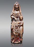 Gothic alabaster statue of Saint Anne and the Virgin Mary as a child from the Nottingham School England, 15th Century, from the cemetery of the vall de Bertizana, Nivarra.  National Museum of Catalan Art, Barcelona, Spain, inv no: MNAC  4353.