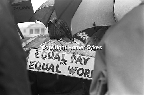 Equal Rights Campaign. Women demand Equal Pay for Equal Work demonstration Trafalgar Square, London May 1968. National gallery in background out of focus