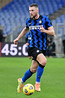 Milan Skriniar of FC Internazionale in action during the Serie A football match between AS Roma and FC Internazionale at Olimpico stadium in Roma (Italy), January 10th, 2021. Photo Andrea Staccioli / Insidefoto