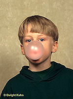 BH22-037x  Bubbles - boy blowing bubbles with bubble gum