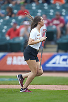 A Florida State Seminoles bat girl retrieves a bat during the game against the Duke Blue Devils in the first semifinal of the 2017 ACC Baseball Championship at Louisville Slugger Field on May 27, 2017 in Louisville, Kentucky. The Seminoles defeated the Blue Devils 5-1. (Brian Westerholt/Four Seam Images)