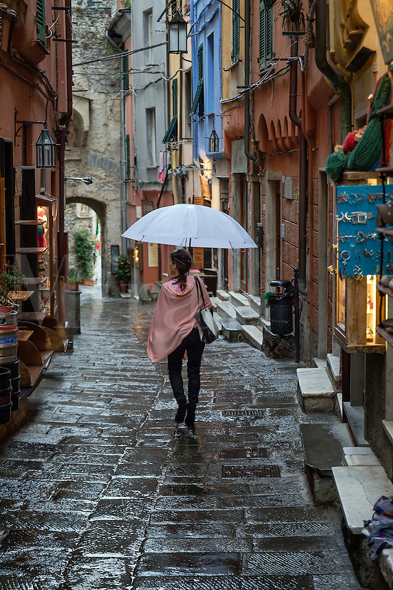 Charming village buildings and alley, Porto Venere, Liguria, Italy