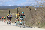 The peloton including Rafal Majka (POL) Bora-Hansgrohe on sector 2 Bagnaia during Strade Bianche 2019 running 184km from Siena to Siena, held over the white gravel roads of Tuscany, Italy. 9th March 2019.<br /> Picture: Seamus Yore   Cyclefile<br /> <br /> <br /> All photos usage must carry mandatory copyright credit (© Cyclefile   Seamus Yore)