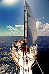 17 May 1983: Looking at the front deck of the Morning Star, a liveaboard sailing dive boat, sloop rigged, off the shores of Bimini, in the Bahama Islands..Mandatory Photo Credit: Ed Wolfstein Photo