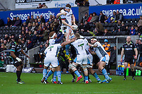 Sunday 26 February 2017<br /> Pictured: Glasgow take line out ball.<br /> RE: Guinness Pro12 Ospreys v Glasgow at the the Liberty Stadium, Swansea, Wales, UK