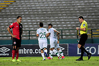 CALI - COLOMBIA, 26-07-2017: Jefferson Duque (#9) jugador del Deportivo Cali celebra después de anotar un gol a Cúcuta Deportivo durante partido de vuelta por los octavos de final de la Copa Águila 2017 jugado en el estadio Palmaseca de la ciudad de Palmira. / Jefferson Duque (#9) player of Deportivo Cali celebrates after scoring a goal to Cucuta Deportivo during second leg match for the Eighth finals of the Aguila Cup 2017 played at Palmaseca stadium in Palmira city. Photo: VizzorImage/ Nelson Rios / Cont