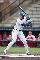 Michigan Wolverines third baseman Drew Lugbauer (17) at bat against the Indiana Hoosiers during the NCAA baseball game on April 21, 2017 at Ray Fisher Stadium in Ann Arbor, Michigan. Indiana defeated Michigan 1-0. (Andrew Woolley/Four Seam Images)