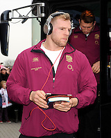 James Haskell of England steps off the team bus before the RBS 6 Nations match between England and France at Twickenham on Saturday 23rd February 2013 (Photo by Rob Munro)