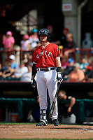 Erie SeaWolves designated hitter Kody Eaves (22) at bat during a game against the Akron RubberDucks on August 27, 2017 at UPMC Park in Erie, Pennsylvania.  Akron defeated Erie 6-4.  (Mike Janes/Four Seam Images)