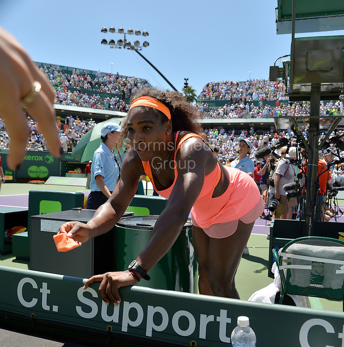 KEY BISCAYNE, FL - APRIL 04: Serena Williams defeats Carla Suarez Navarro of Spain during the final on day 13 of the Miami Open at Crandon Park Tennis Center on April 4, 2015 in Key Biscayne, Florida.<br /> <br /> <br /> People:  Serena Williams<br /> <br /> Transmission Ref:  FLXX<br /> <br /> Must call if interested<br /> Michael Storms<br /> Storms Media Group Inc.<br /> 305-632-3400 - Cell<br /> 305-513-5783 - Fax<br /> MikeStorm@aol.com