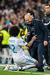 Marcelo Vieira Da Silva of Real Madrid celebrates with team manager Zinedine Zidane of Real Madrid during the UEFA Champions League 2017-18 Round of 16 (1st leg) match between Real Madrid vs Paris Saint Germain at Estadio Santiago Bernabeu on February 14 2018 in Madrid, Spain. Photo by Diego Souto / Power Sport Images
